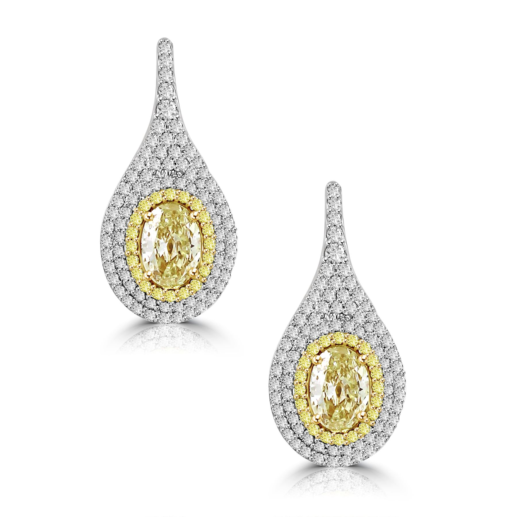 Natural Fancy Color Diamond Earrings with Oval Yellow Diamond in the Center Image