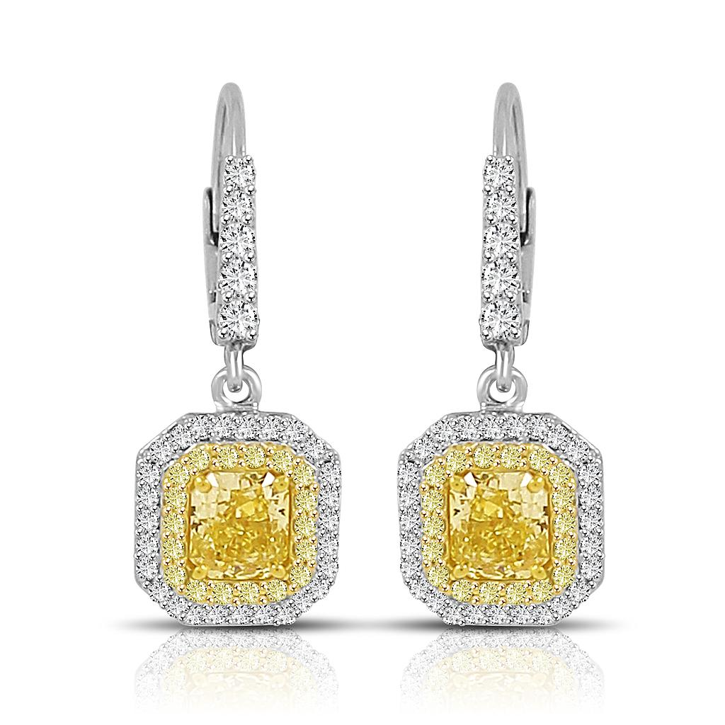 Yellow Diamond Dangle Earrings Colorstar Inc