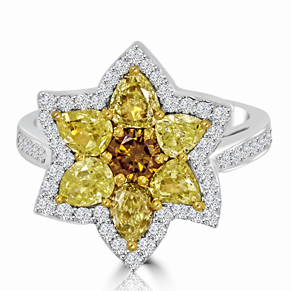 Natural Fancy Color Diamond Flower Ring Colorstar Inc